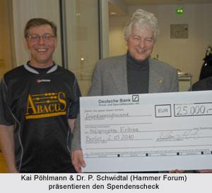 Kai Pöhlmann & Dr. P. Schwidtal (Hammer Forum) präsentieren den Spendenscheck