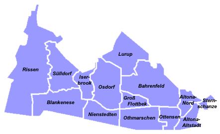 Karte für Ihre Nachhilfe Bezirk Hamburg Altona