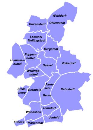 Karte für Ihre Nachhilfe Bezirk Hamburg Wandsbek
